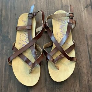 Brown faux leather Blowfish Sandals